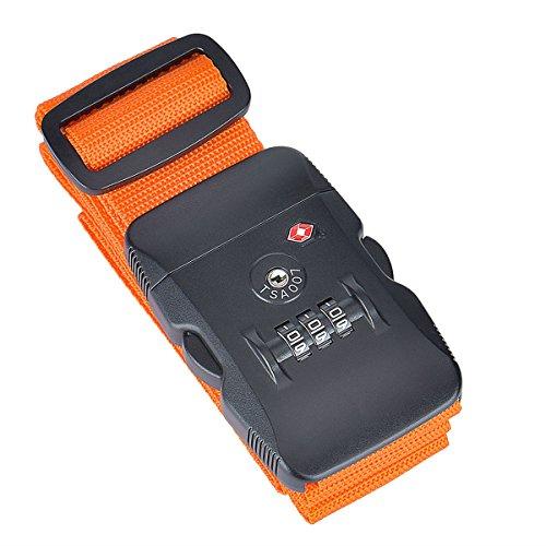 Cozyswan TSA Lock Luggage Strap Suitcase Belts (Orange)