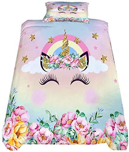XUNGENG - Funda de edredón, diseño de unicornio, universal, ultra suave, juego de cama con funda de almohada, para niños y niñas con cremallera, 200 x 200 cm