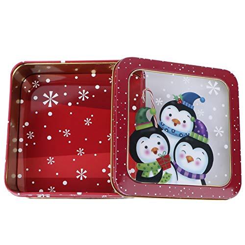 PRETYZOOM Weihnachtsdose Keksdose mit Deckel Metalldose Pinguin Plätzchendose Geschenkbox Süßigkeit Dosen Gebäckdose Teedose Vorratsbehälter für Xmas Silvester Partygeschenke