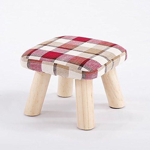 QFFL Repose-pieds en bois massif / tabouret de canapé / haut jambes Petit banc / tabouret de chaussure créatif Foyer (4 couleurs en option) Tabouret d'extérieur ( Couleur : Red , taille : 28*21cm )