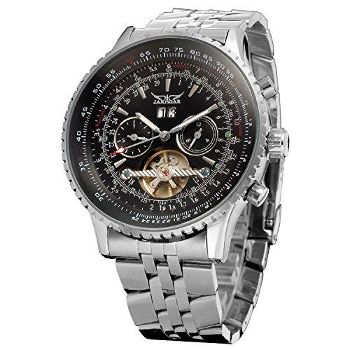 Forsining orologio da uomo automatico Tourbillon completo di calendario con cinturino JAG034M4S2