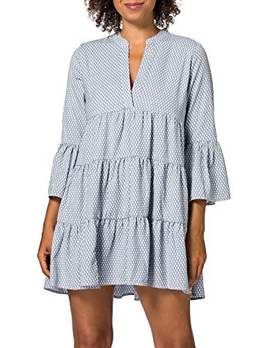 ONLY Damen ONLFREJA 3/4 Athena Dress WVN Kleid, Faded Denim/AOP:Athena, L