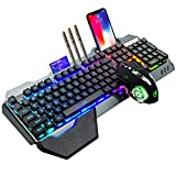 Wireless Gaming Keyboard and Mouse,RGB Backlit Rechargeable Keyboard Mouse with 4800mAh Battery Metal Panel,Removable Hand Rest Mechanical Feel Keyboard and 7 Color Gaming Mute Mouse for PC Gamer
