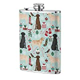 Labrador Retriever Light Blue Dog Christmas Hip Flask Outdoor Cup Flagon portátil para viajes Camping Mug Wine Flask 8OZ