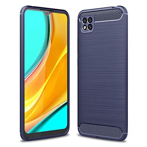 ZDCASE Xiaomi Poco C3 Funda, Fibra de Carbon Cepillado A Prueba de choques TPU Suave Ultradelgado Flexible Fit Protectora Funda para Xiaomi Poco C3 - Azul