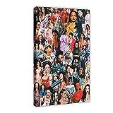 Rihanna - Barbades - Poster sur toile Rihanna Greatest Hits - 17 - Décoration pour chambre à coucher, sport, paysage, bureau, décoration - 60 x 90 cm