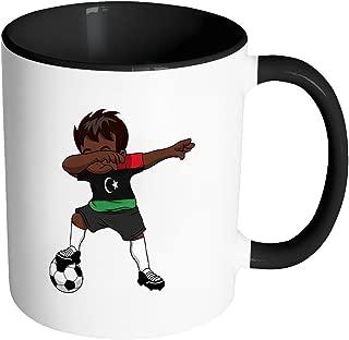 Dabbing Soccer Boy Libya Libyan Tripoli Gifts National Soccer Tournament Game 11oz Black & White Coffee Mug ~ Both Sides Printed