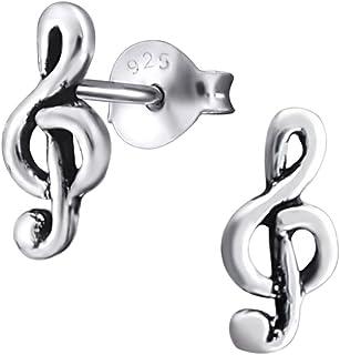 Sofia Milani 20674 Boucles doreilles pour femme avec note de musique Argent