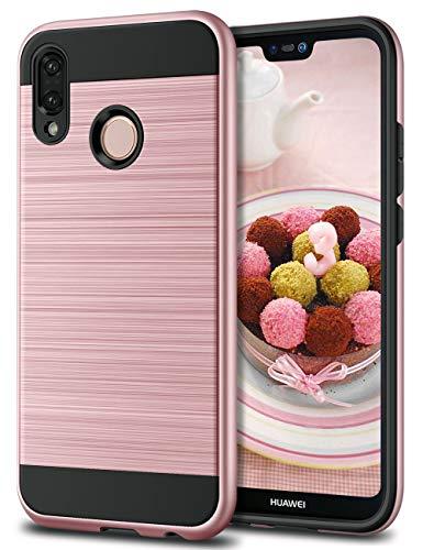 Huawei P20 Lite Hülle, Coolden Premium Stoßfest Handyhülle Silikon TPU + Hard PC Bumper Doppelschichter Schutz Ultra Dünn Hülle für Huawei P20 Lite (Rosegold)
