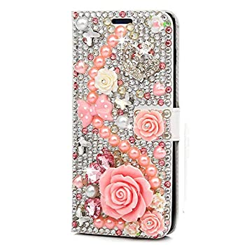 STENES Bling Wallet Case Compatible with LG Tribute HD - Stylish - 3D Handmade Crystal Rose Crown Bowknot Flowers Magnetic Wallet Leather Cover with Cable Protector [4 Pack] - Pink