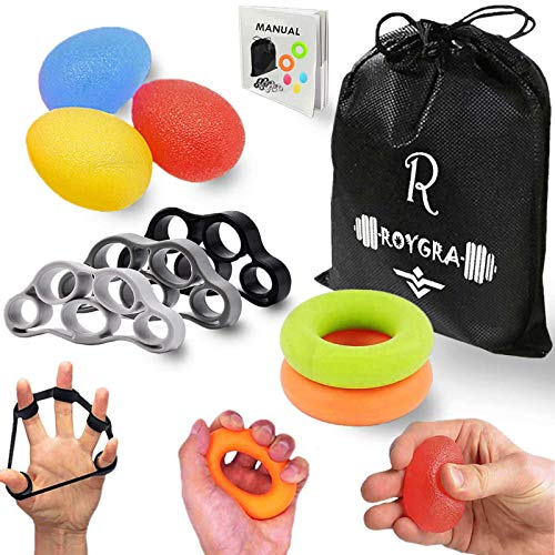 roygra Hand Grip Strengthener (8 Pack) Finger Exercise Exerciser Stretcher Resistance Bands Stress Relief Ball Forearm Squeeze Ring Strength Trainer (D - 8 Pack)