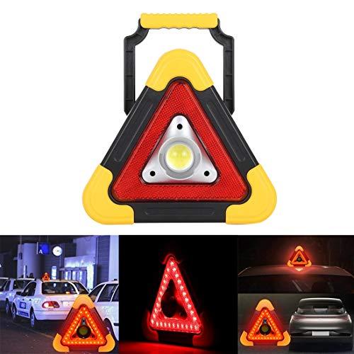 Étanche ? Lampe de travail COB LED rouge multifonctions portable triangulaire 10W, lampe de secours extérieure 500 LM avec support pour la montagne, la pêche, la maintenance, etc. Longue durée de vie