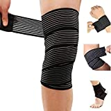Extra Long Elastic Knee Wrap Compression Bandage Brace Support for Legs, Plantar Fasciitis, Stabilising Ligaments, Joint Pain, Squat, Basketball, Running, Tennis, Soccer, Football,