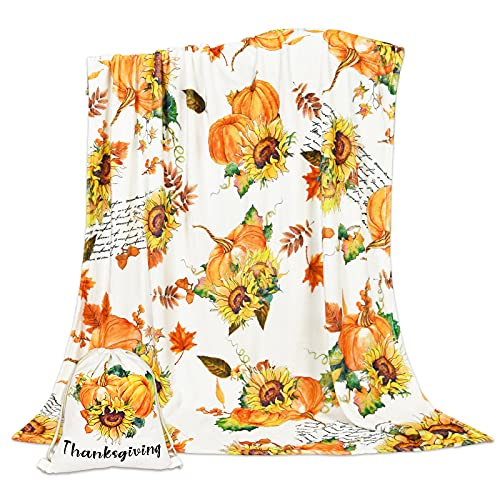 Thanksgiving Fall Throw Blanket, Autumn Sunflower Blanket with Gift Bag, Cute Pumpkins Throw Blanket for Couch, Soft Comfortable Fleece Carpet Blanket for Sofa Bed Couch, 50 x 60 Inch