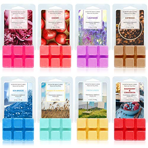 SCENTORINI Wax Melts, Scented Soy Wax Cubes for Wax Warmer, 8 x 2.5 oz, Sea Breeze, Linen, Winds in Summer, Espresso, Cherry, Raspberry & Cinnamon, Lavender, Blush Peony