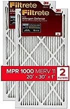 Filtrete 20x30x1, AC Furnace Air Filter, MPR 1000, Micro Allergen Defense, 2-Pack (exact dimensions 19.81 x 29.81 x 0.81)
