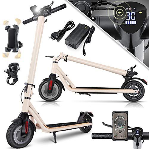 KESSER® Elektro Scooter 700 W E-Scooter mit APP & Bluetooth E-Roller Elektroroller Faltbar 9,5 Zoll Reifengröße bis zu 30 km/h Aluminium Klappbar max. Belastung 120kg, LED Anzeige Akku Creme