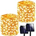 SANJICHA Solar String Lights Outdoor, 2-Pack Each 72FT 200 LED Super Bright Solar Christmas Lights, Waterproof Copper Wire 8 Modes Fairy Lights for Christmas Party Holiday (Warm White)