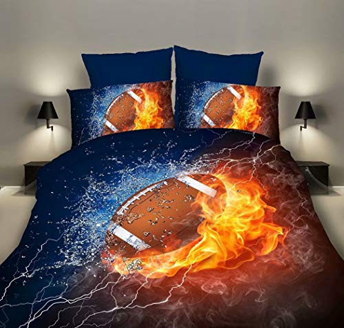 Bedding Set 3D Football Basketball Rugby Volleyball Printed Children Boy Quilt Cover Set Super Soft Duvet Cover Pillow Case Zipper Closure Easy Care (Rugby, Double200x200cm)