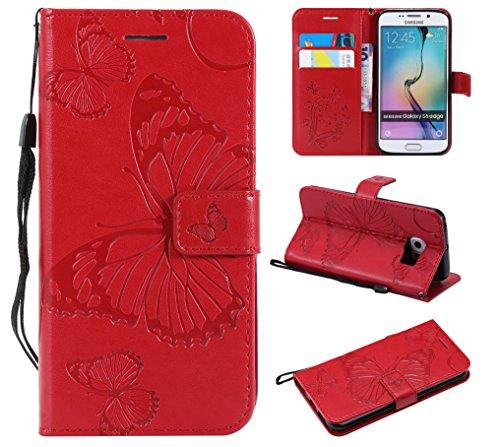 Hülle für Galaxy S6 Edge Hülle Handyhülle [Standfunktion] [Kartenfach] [Magnetverschluss] Tasche Flip Case Cover Etui Schutzhülle lederhülle klapphülle für Samsung Galaxy S6Edge/G925F - DEKT040664 Rot