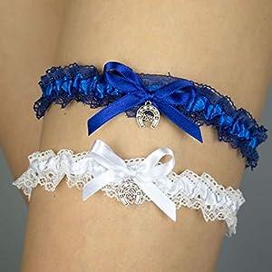 2x Strumpfband blau Hochzeit Braut Brautkleid Unterwaesche Hufeisen viel Glück