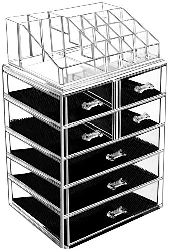 HBlife Makeup Organizer with Bigger Drawers 2 Pieces Acrylic Jewelry and Cosmetic Storage Display Box, Fit for Most Makeup Palettes
