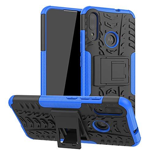 LiuShan Kompatibel mit Moto E6 Plus Hülle, Dual Layer Hybrid Handyhülle Drop Resistance Handys Schutz Hülle mit Ständer für Motorola Moto E6 Plus/Moto E6s Smartphone,Blau