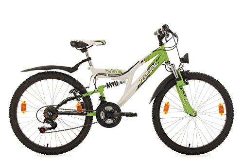 """KS Cycling Kinderfahrrad Mountainbike Fully 24"""" Zodiac weiß-grün RH38cm"""