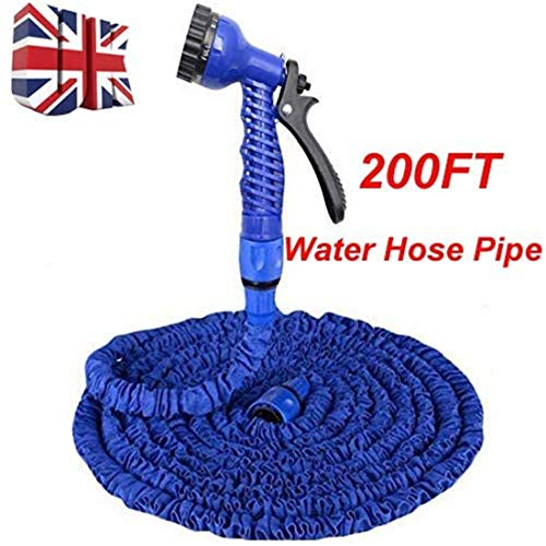 Alittle 200FT Garden Hose Expandable Garden Water Hose Pipe Flexible No Kink Magic Water Hose with 7 Function Spray Gun for Car Watching, Pet Showering Blue