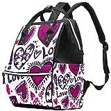 Bolsa de pañales de Tela con diseño de corazón de San Valentín y Estrellas con patrón de Estrellas y Corazones de Gran Capacidad para el Cuidado del bebé Multi01. 27x19.8x36.5cm/10.6x7.8x14in