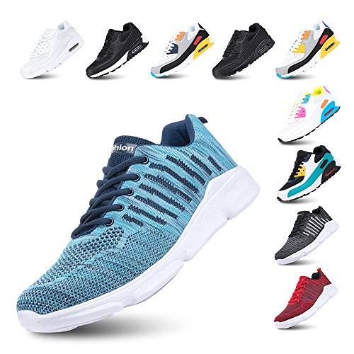 Laufschuhe Herren Turnschuhe Licht rutschfest Atmungsaktiv Sportschuhe Fitness Dämpfung Sneakers F-Blau 44