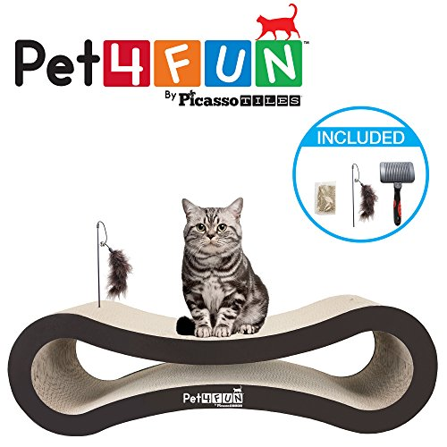 Pet4Fun PF360 4 in1 Reversible Durable Stylish Cat Scratcher Lounge w/ large space and special teaser holder for scratching, playing, resting, and napping. Teaser, Comb, & Catnip Included by Picasso Tiles