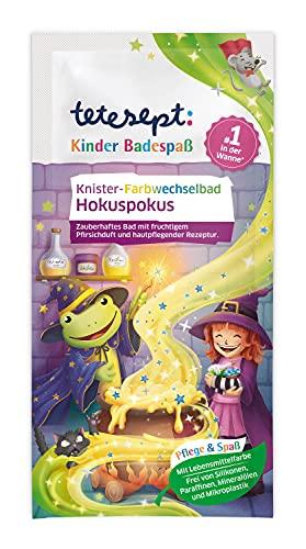 tetesept Kinder Badespaß Knister-Farbwechselbad Hokuspokus – Pflegender Badezusatz mit fruchtigem Pfirsichduft für Kinder – 1 x 45 g