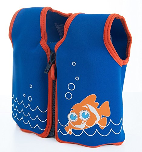 The Original Konfidence Jacket I Neopren Schwimmjacke ideal für Kinder I inkl. Baumwoll-Windel, Größe:4-5 Jahre, Design:scoot the clownfish
