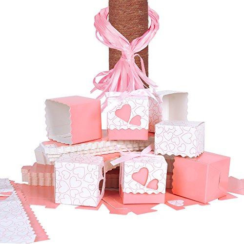 QUMAO (5 * 5 * 5cm) 100pz Scatole Portaconfetti di Carta Incluso Nastrino Bomboniere Regalo Segnaposti Decorazioni per Festa Matrimonio Battesimo (Rosa)