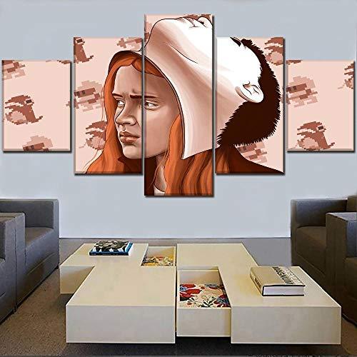 CVBGF Cuadros 5 Piezas Arte sobre Lienzo/Cosa extraña/Stampa su Tela, decoración de Pared Bellissimo Design con Enmarcado Arte Talla:M/W=150Cm,H=80Cm