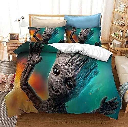 KMTSYD Groot Juego de ropa de cama Groot para cama infantil, impresión 3D, universal, para todas las estaciones (2,135 x 200 cm + 80 x 80 cm x 2)
