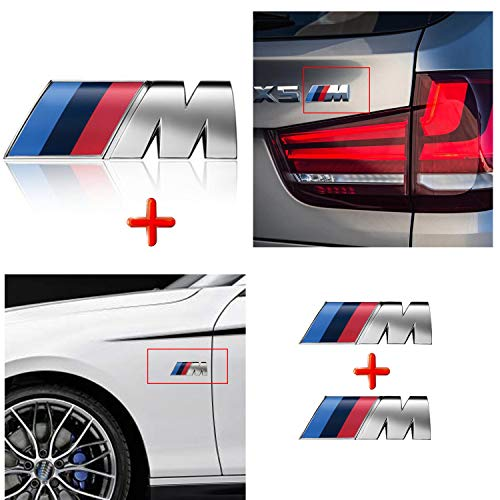 HUAYT 3X M Sport Power Badge Sticker, ABS M Auto-Emblem für F10 F15 F16 F25 F26 F30 Series i 1 2 3 4 5 7 M3 M5 M6 Z1 Z3 Z4 Z8