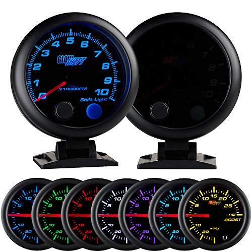 GlowShift Tinted 7 Color 10,000 RPM Tachometer Gauge - for 1-10 Cylinder Gas Powered Engines - Built-in Shift Light - Mounts On Dashboard - Black Dial - Smoked Lens - 3-3/4