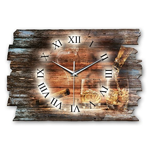 Kreative Feder Whiskey Whisky Shabby Style Designer Wanduhr Funkuhr aus Holz *Made in Germany leise ohne Ticken (leises Funkuhrwerk)