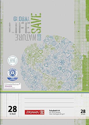 Brunnen 104412801 Schulheft Recycling A4 (16 Blatt, kariert, Lineatur 28, mit Rand)