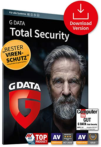 G DATA Total Security 2021, 1 Gerät - 1 Jahr, Download, Code per Email, Windows, Mac, Android, iOS, Made in Germany - zukünftige Updates inklusive