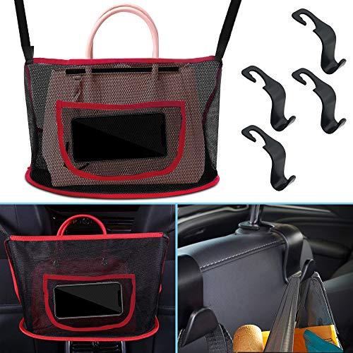 AFUNTA 1 bolsa de malla de almacenamiento para coche con 4 ganchos de plástico para coche, bolsillo de red de almacenamiento para colgar documentos, barrera del asiento trasero para niños y mascotas.