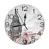 vnsukdlfg Round Wall Clocks Home Decorative,London,Hand Drawn Illustration of Big Ben London England Flag Vintage Historic City Design Print,Grey,Diameter 9.8'(25cm),Christmas Gifts