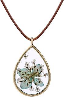 FM FM42 Pressed Dried Flowers Teardrop Shape Pendant Necklace FN4005