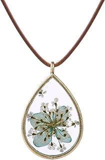 Pressed Dried Flowers Teardrop Shape Pendant Necklace FN4005