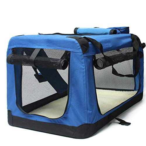 NYKK Dog cage Dog cage Kit Blue Folding Soft Dog Crate, Indoor & Outdoor Pet Home Car Kennel Outing Carrying Bag Pet Luggage Kennel Cage Kennel (Size : L)