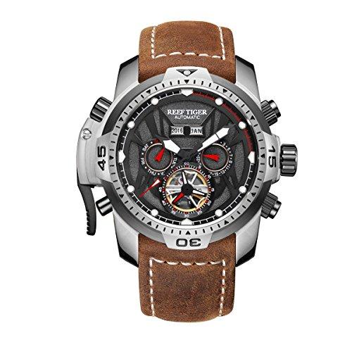 REEF TIGER Herren Uhr analog Automatik mit Leder Armband RGA3532-YBSR