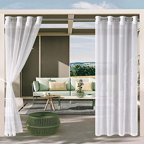DWCN Outdoor Curtains for Patio - White Semi Voile Waterproof Sheer Curtains for Gazebo, Pergola, Porch, Set of 2 Window Curtain Panels with 2 Tieback Ropes, 52 x 84 Inches Long