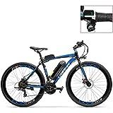 アダルトマウンテンE-自転車700Cペダルアシスト電動Bike36V 20Ahバッテリー300Wモーターアルミ合金翼形状フレームの両方のディスクブレーキ毎時20〜35キロロード自転車 (Color : Blue-LED, Size : Plus 1 Spare Battery)
